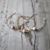 Tiny Stardust Bead Chain Ring - Sterling Silver, Gold Filled, Rose Gold Filled Dainty
