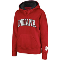 Indiana Hoosiers Women's Arched Name Pullover Hoodie - Crimson