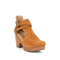 Free People Cedar Suede Buckle Clogs Taupe