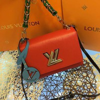DCCK L061 Louis Vuitton LV Twist Denim Variable Chain Handle Fashion Handbag 23-17-10cm Red