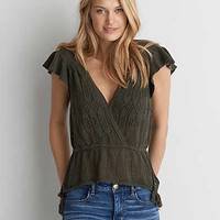 AEO Short Sleeve Sweater Top, Olive