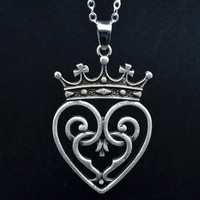 1pc Dropship Vintage Silver Scottish Thistle Pendant Necklace Large Queen Crown Pendant with 45+5cm Silver Chain Bridal Jewelry