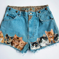 Vintage High Waist Distressed Denim Cut Off Quilted Cat Shorts With Buttons