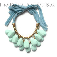 Ready To ship Mint Drop necklace Antropologie inspired bib statement necklace Christmas gift Large necklace