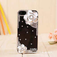 White flower iphone 5 cases,iphone cases-transparent bling camellia flower free shipping