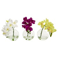 Artificial Flowers -9 Inch Phalaenopsis Orchid Arrangement In Vase -Set Of 3