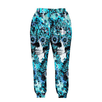Skulls printing men/women 3d pant print blue roses Sunflower and butterfly long trousers joggers aut