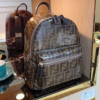 Fendi High-quality new double backpack adds fashion Coffee