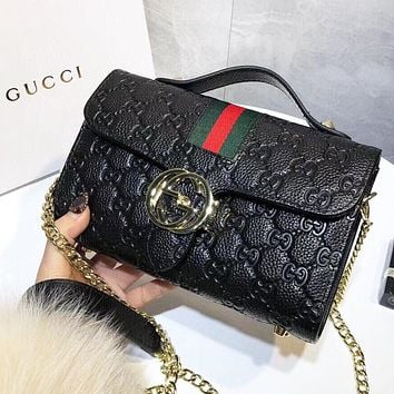 GUCCI New fashion more letter leather shoulder bag crossbody bag handbag Black