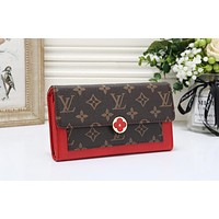 Louis Vuitton LV Trending Women Leather Buckle Wallet Purse Red