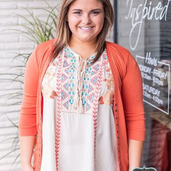 Taupe Embroidered Sleevless Blouse