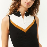 Colorblock Sweater-Knit Tank Top
