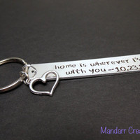 Home is Wherever I'm With You, Custom Anniversary Date Keychain, Hand Stamped Aluminum