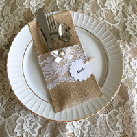 10 burlap and white lace rustic silverware holder, wedding, bridal shower, tea party table decoration