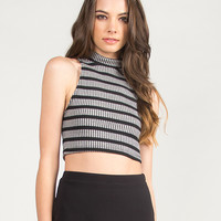 High Neck Striped and Ribbed Cropped Tank