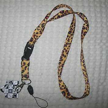 "Beige Brown Leopard Animal Print Design 15"" lanyard for ID Holder Mobile Device"