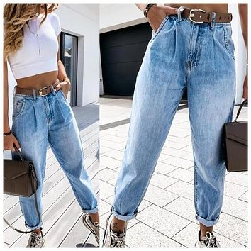 2020 new women's casual thin straight-leg jeans denim trousers