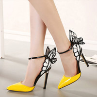 Women's Color Block Butterfly Wing Strap Pointed Toe High Heels Stiletto Shoes