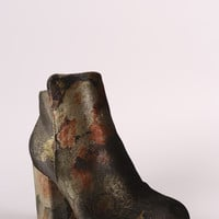 Bamboo Floral Print Velvet Chunky Heeled Ankle Boots