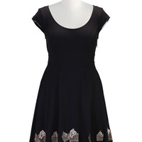 Birdcage embroidery cotton knit dress