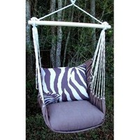 Outdoor Indoor Hammock Swing Chair w/ Pillow BROWN White ZEBRA stripes CHZBLT-SP: Everything Else
