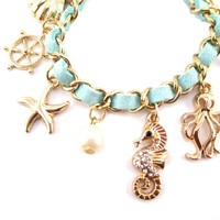Anchor Starfish Seashells Octopus Seahorse Mint Blue Charm Bracelet
