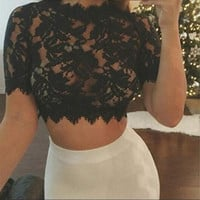 Summer Cropped Tops For Women Fashion Sexy Lace Crochet T Shirt Ladies Camisetas Mujer Short Sleeve Tee Shirt Femme