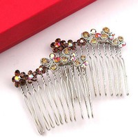 Crystal Accent Silvertone Flower Butterfly Hair Comb #h034
