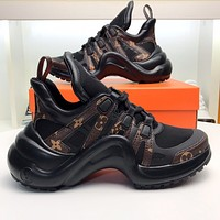 Louis Vuitton LV trendy women's retro print stitching technology casual shoes