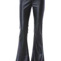 faux leather bell bottom pant