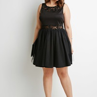 Plus Size Lace-Paneled Tulle Dress | Forever 21 PLUS - 2000096106