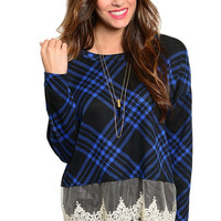 Plaid Print Knit Sweater With Sheer Lace Trim
