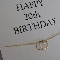 20th birthday gift for Daughter. Daughter 20th Birthday necklace, 2 Eternity Circles jewelry for her, 2 friends. Niece 20th Birthday Gift