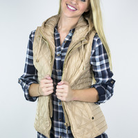 Quaint Quilted Taupe Hooded Vest