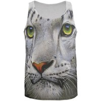 MDIGCY8 White Snow Leopard Face All Over Adult Tank Top