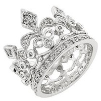 Crown Ring 77ct Clear Cubic Zirconia White by PersonalizeStation