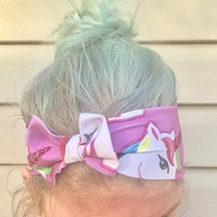 Unicorn bow headband workout headband stretch headband