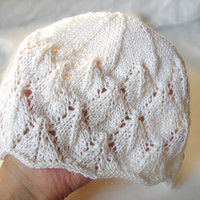 White laced beanie, cool wool hat for kids, 1-6 year old girls, READY TO SHIP