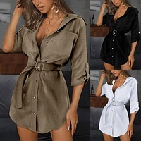 2020 new women's lace-up cardigan solid color sleeved shirt dress
