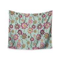 """Nika Martinez """"Romantic Floral in Mint"""" Pink Teal Wall Tapestry"""