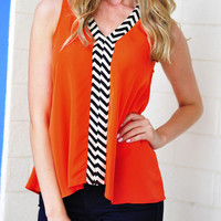 Touch Of Chevron Top: Red-Orange   Hope's