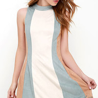 Color Story Beige Color Block Suede Dress