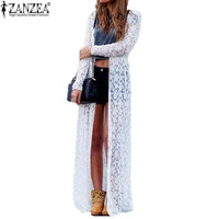 6 Color Blusas 2016 Women Outwear Lace Crochet Long Sleeve Beach Kimono Cardigan Casual Loose Long Blouses Tops Plus Size Shirts