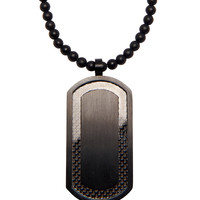 Men's Beaded Necklace with Matte Onyx and Titanium and Carbon Fiber Dog Tag
