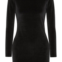 T by Alexander Wang - Cutout cotton-blend velvet turtleneck mini dress