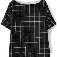 Short-sleeved Checked Pullover Shirt
