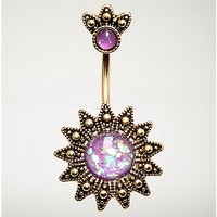 Sun and Purple Stone Belly Ring - 14 Gauge - Spencer's