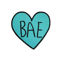BAE Candy Heart Patch Iron On Patch Embroidery Sewing DIY Customise Denim Cotton Baby Sweetie Babe Sassy Turquoise Tumblr Love Hearts