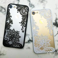 Kerzzil Retro Vintage Lace Flower Clear Case For iPhone 7 6 6S Plus 5 5s SE Cartoon Cat Skull Cover For iPhone X 6 6S 8 Plus