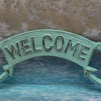 Anchor Welcome Door Sign Wall Decor Beach Blue Distressed Cottage Chic Nautical Plaque Double Anchors Beachy